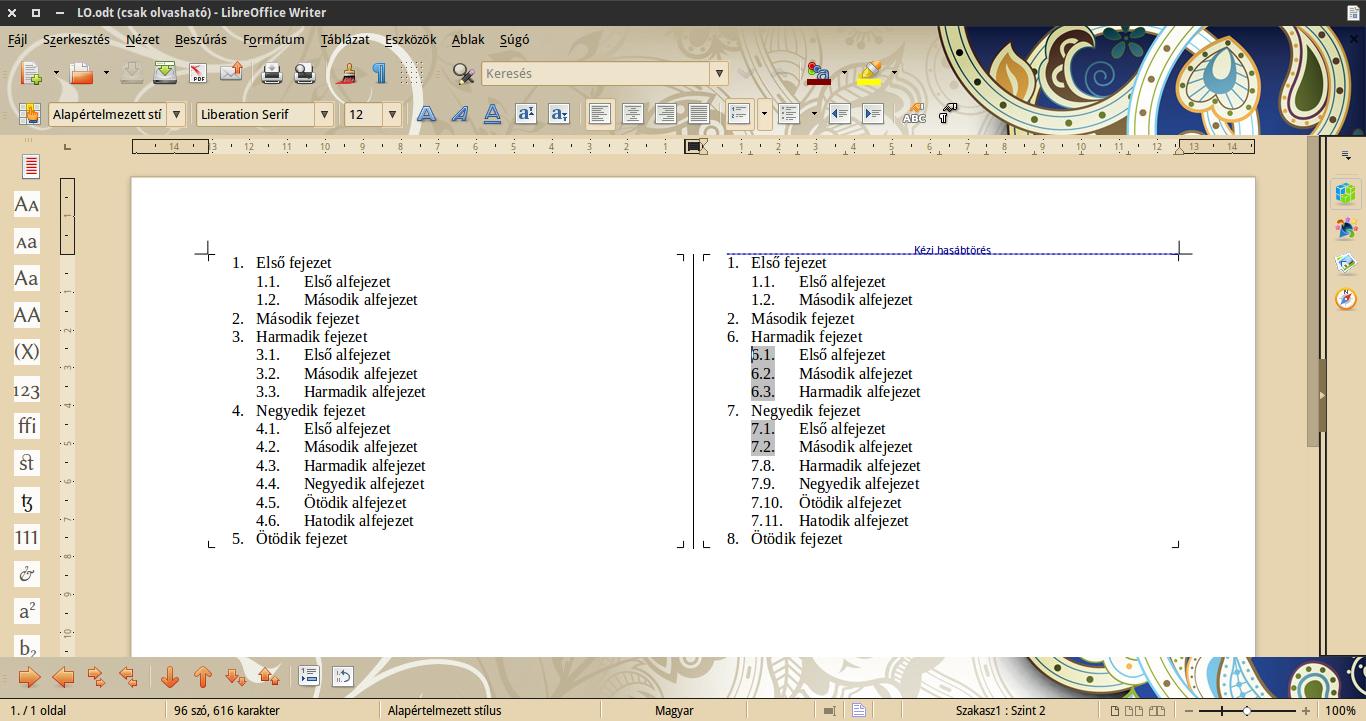 LibreOffice egyedi számozás