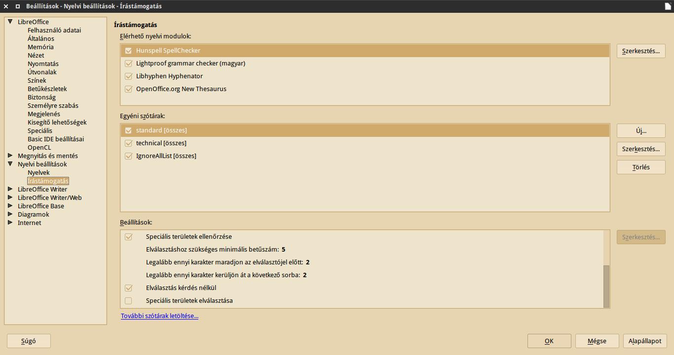LibreOffice magyar elválasztás és szinonimaszótár