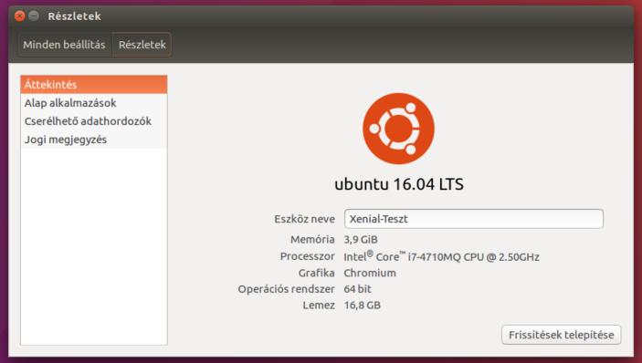 Ubuntu rendszerverzió Unity-ben