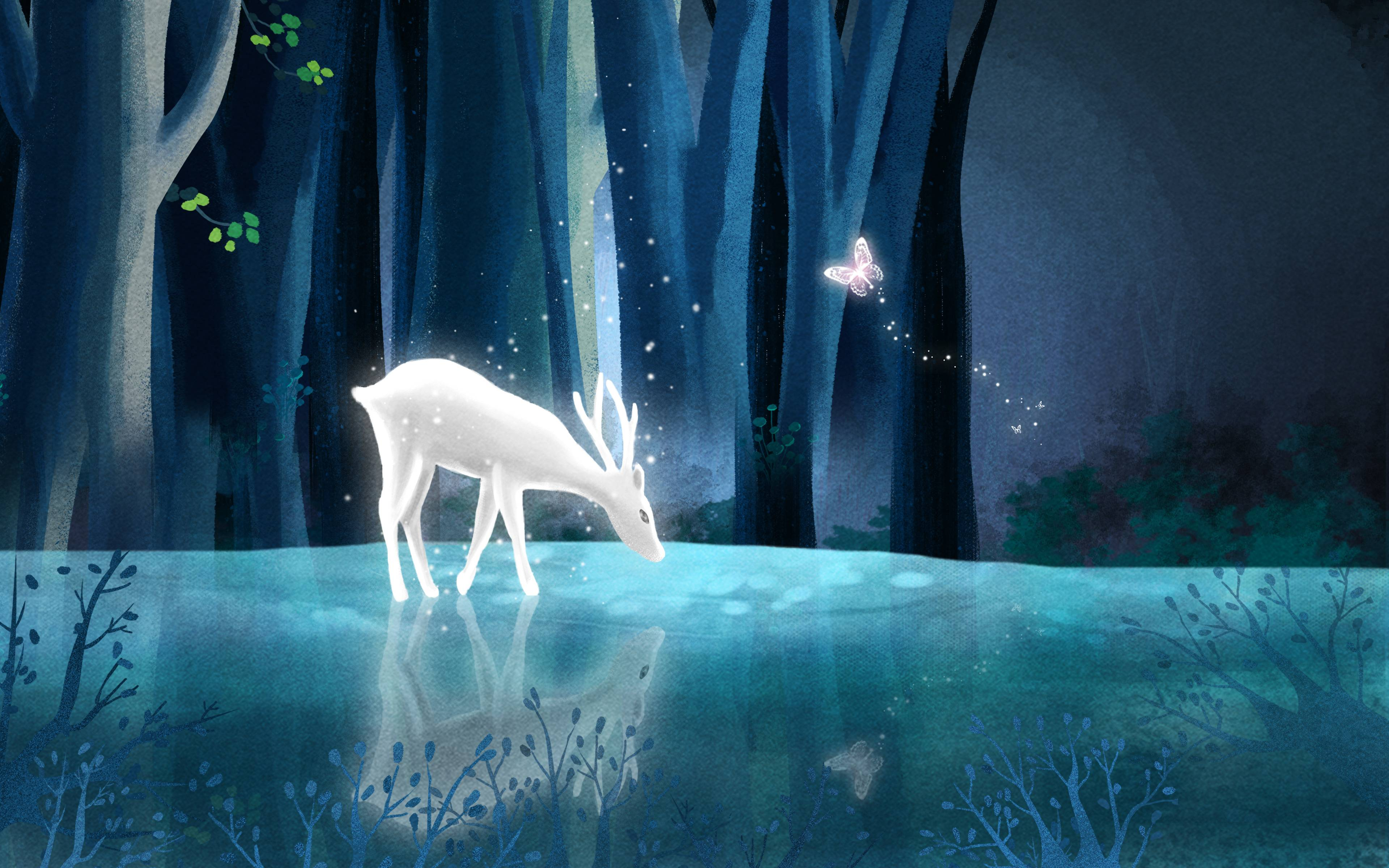 The deer only appears in the deep forest