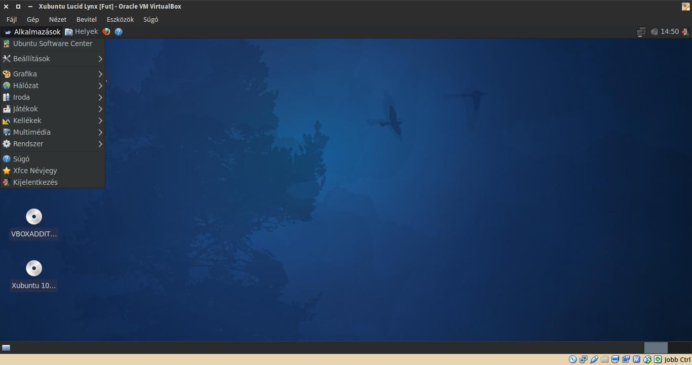 Xubuntu 10.04 alkalmazások menü
