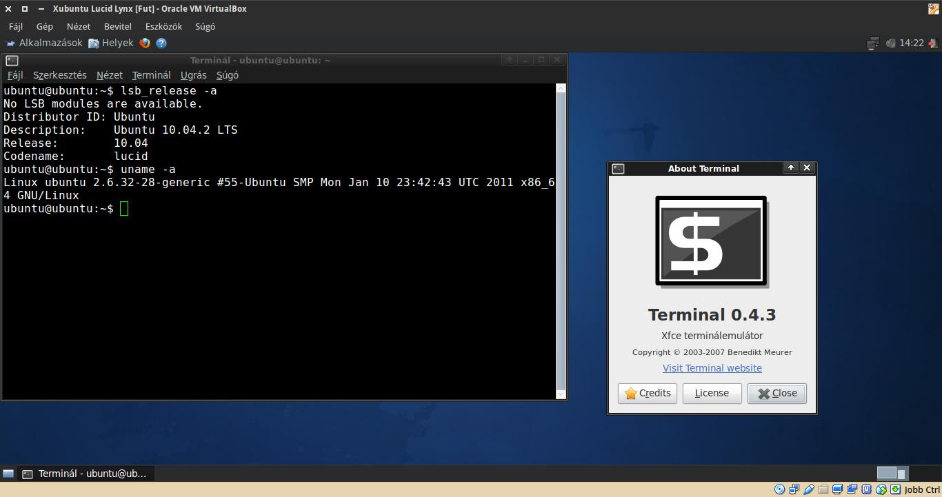 Xubuntu 10.04 terminál, kernel