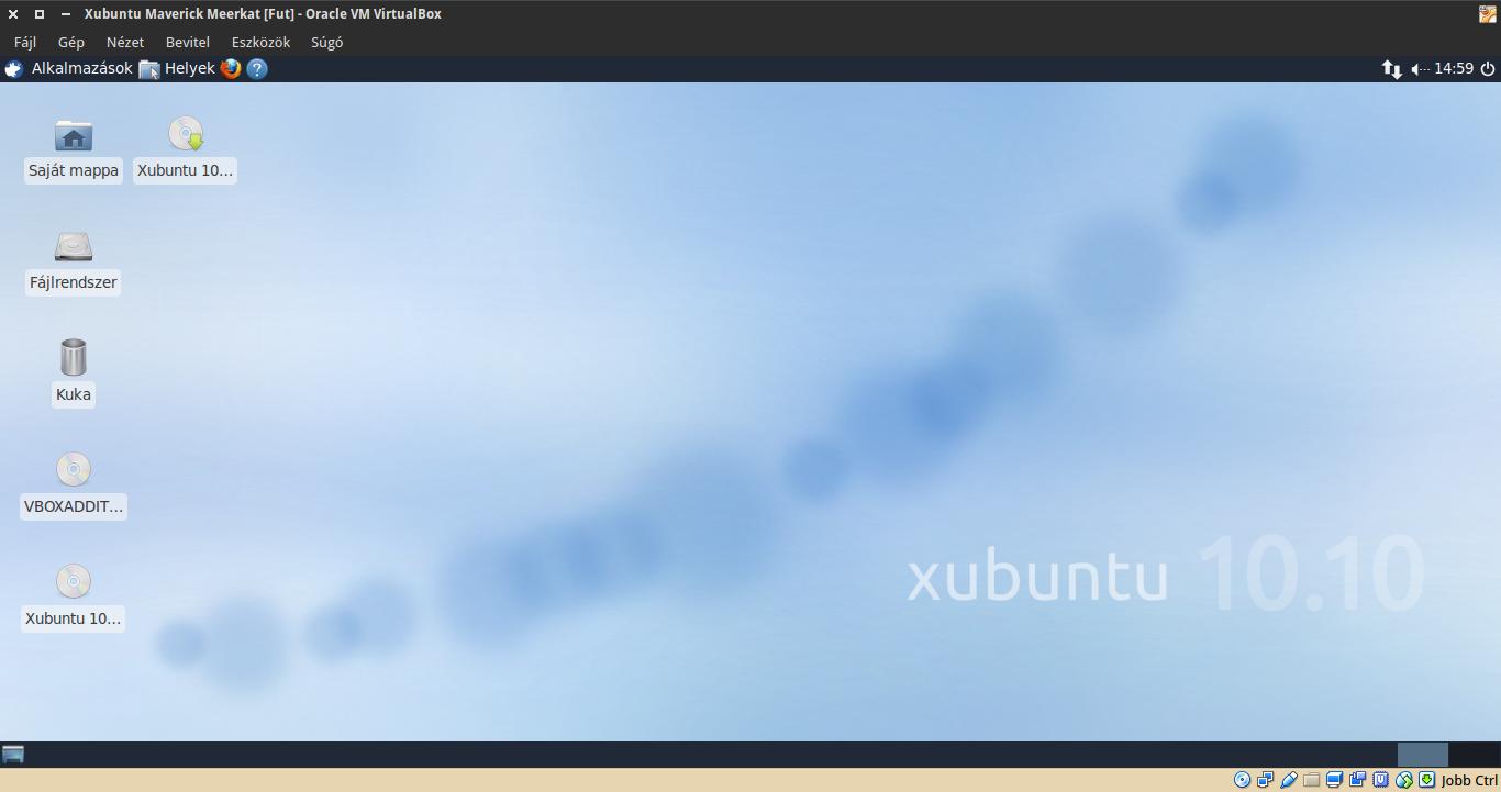 Xubuntu 10.10 asztal
