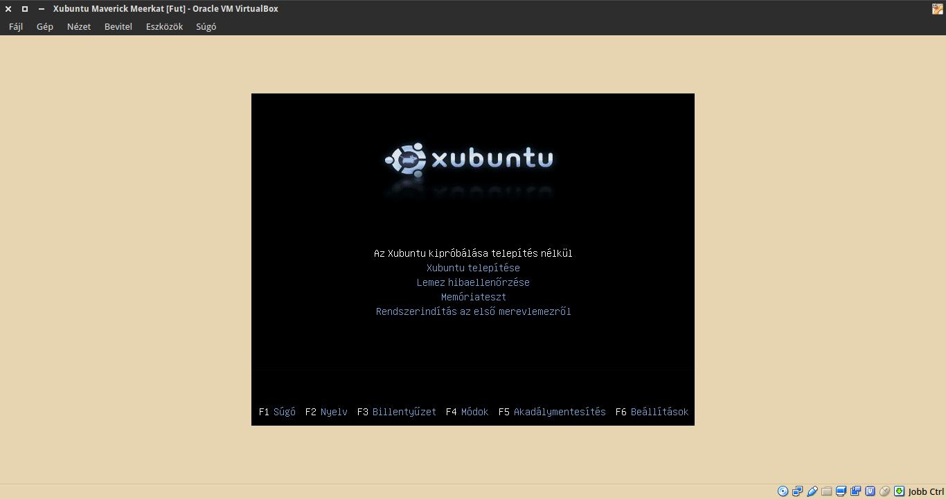 Xubuntu 10.10 boot menü