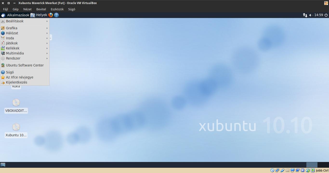 Xubuntu 10.10 alkalmazások menü
