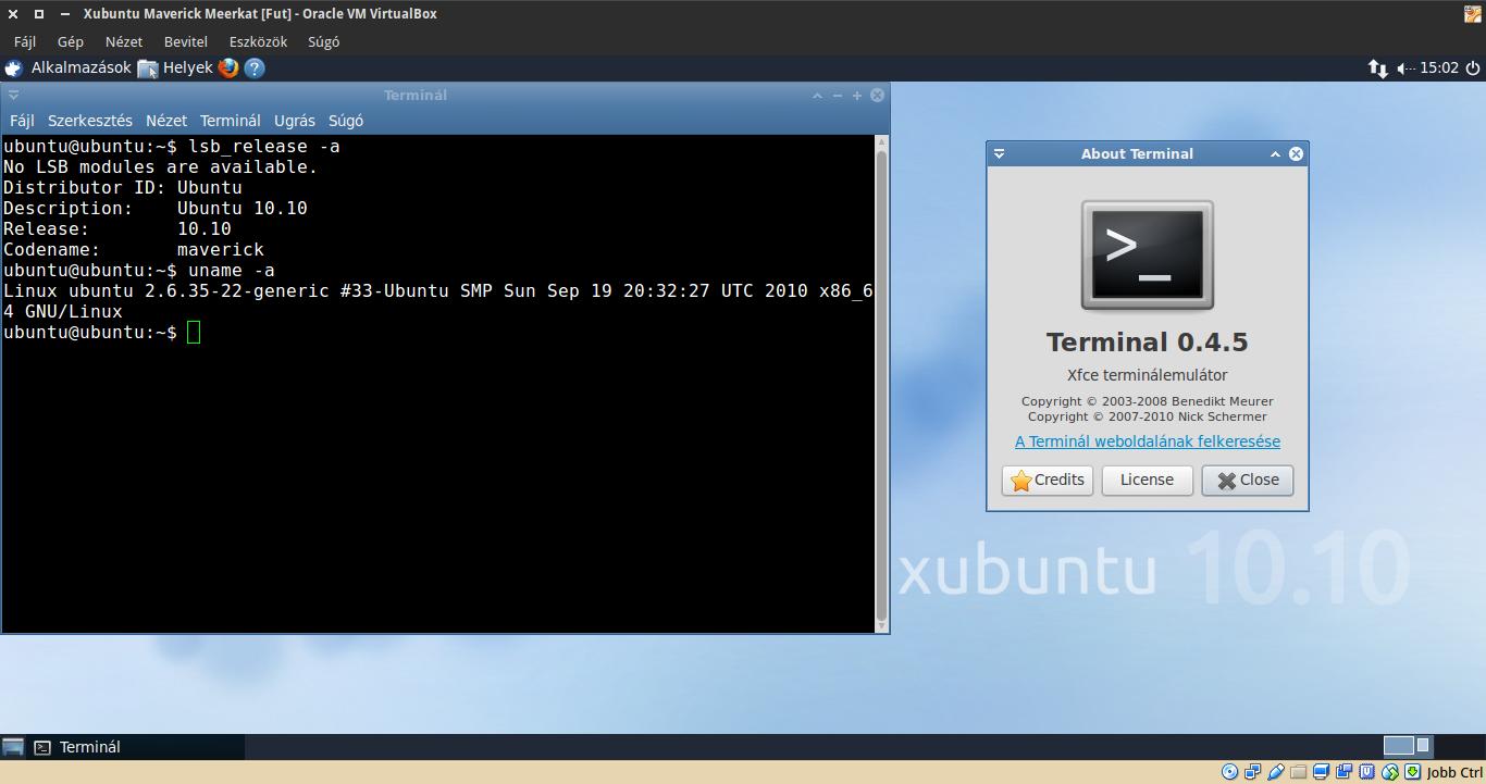 Xubuntu 10.10 terminál, kernel