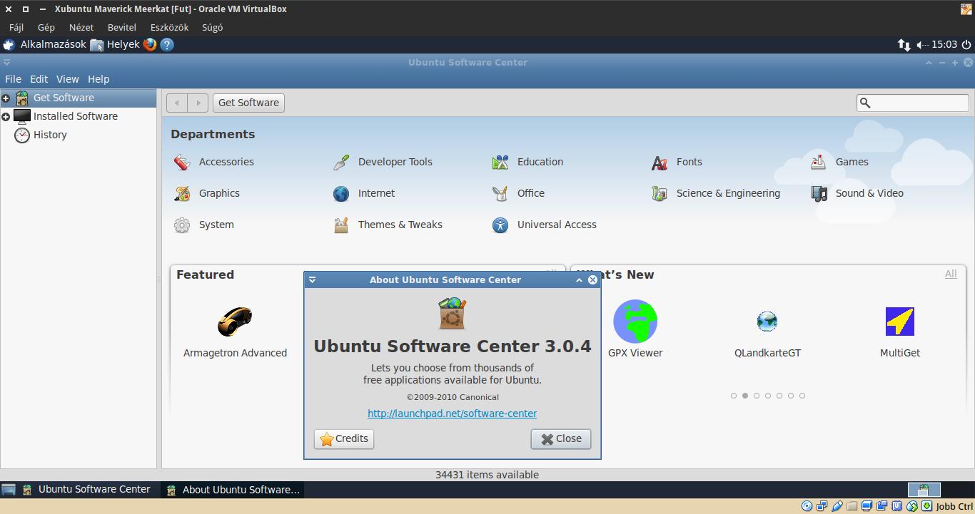 Xubuntu 10.10 Szoftverközpont