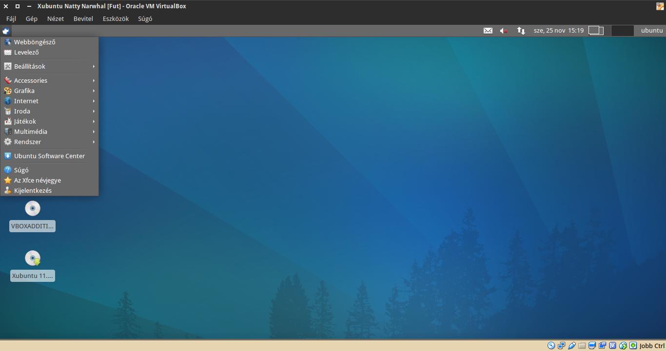 Xubuntu 11.04 alkalmazások menü