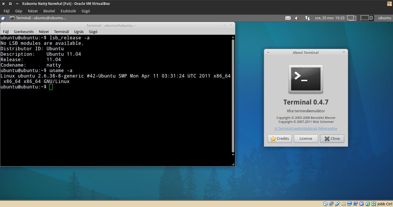 Xubuntu 11.04 terminál, kernel