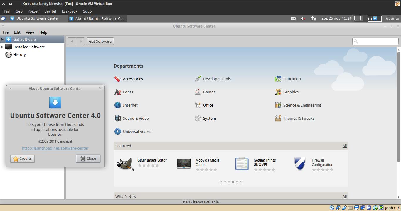 Xubuntu 11.04 Szoftverközpont