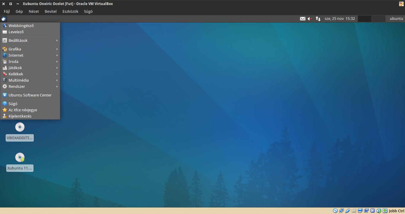 Xubuntu 11.10 alkalmazások menü