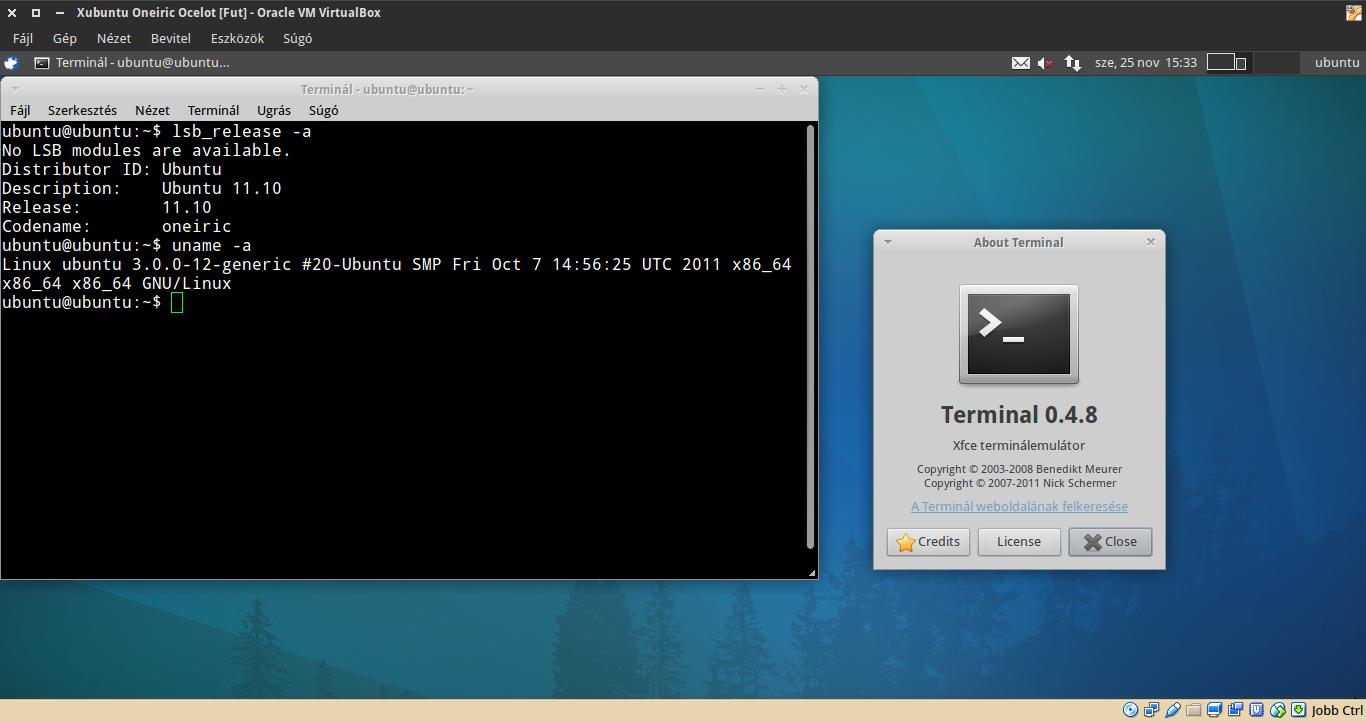 Xubuntu 11.10 terminál, kernel