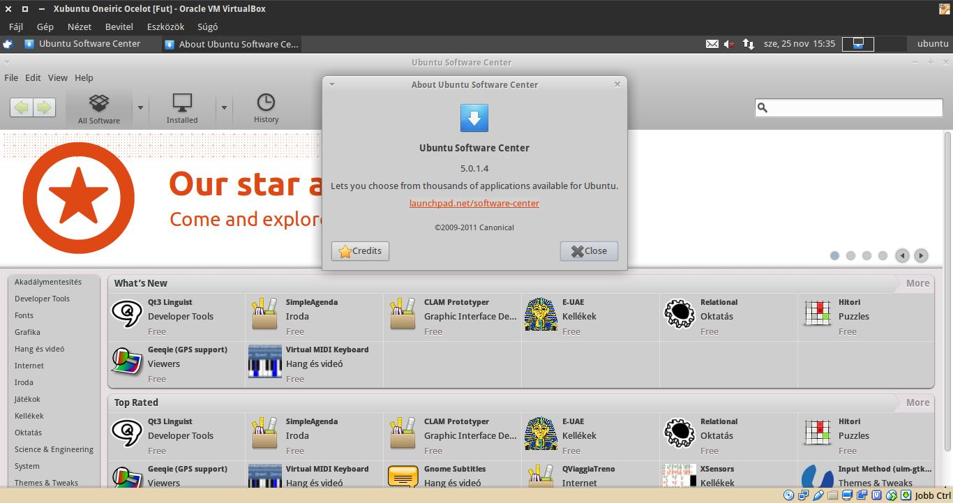 Xubuntu 11.10 Szoftverközpont
