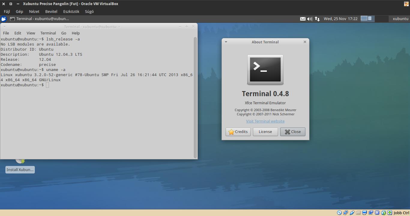 Xubuntu 12.04 terminál, kernel