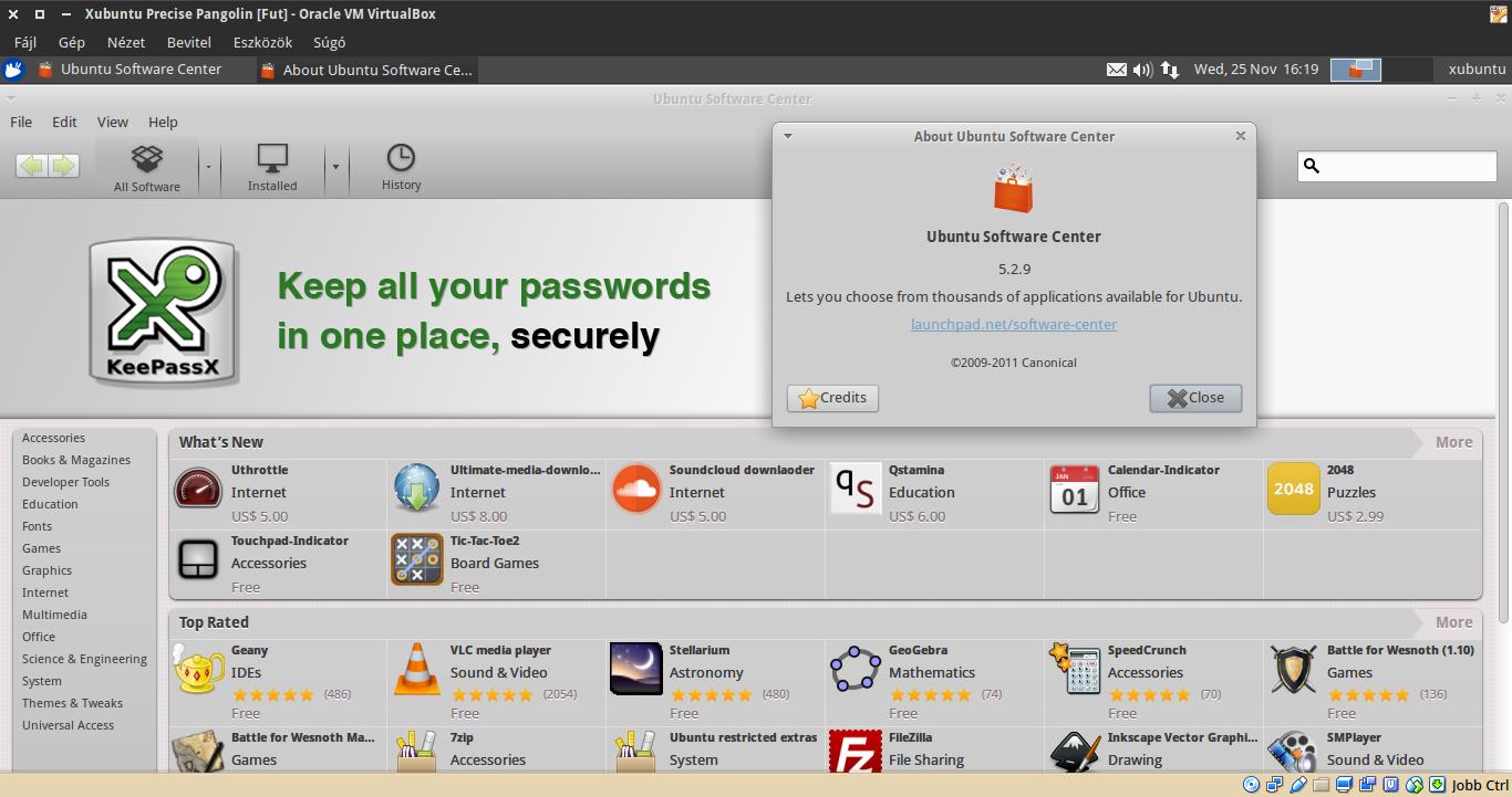 Xubuntu 12.04 Szoftverközpont