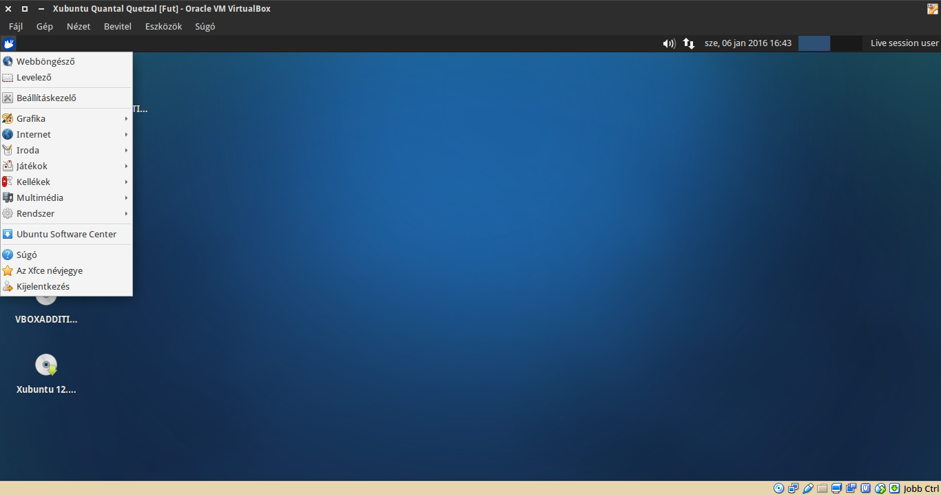 Xubuntu 12.10 alkalmazások menü