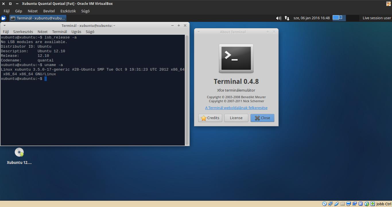 Xubuntu 12.10 terminál, kernel