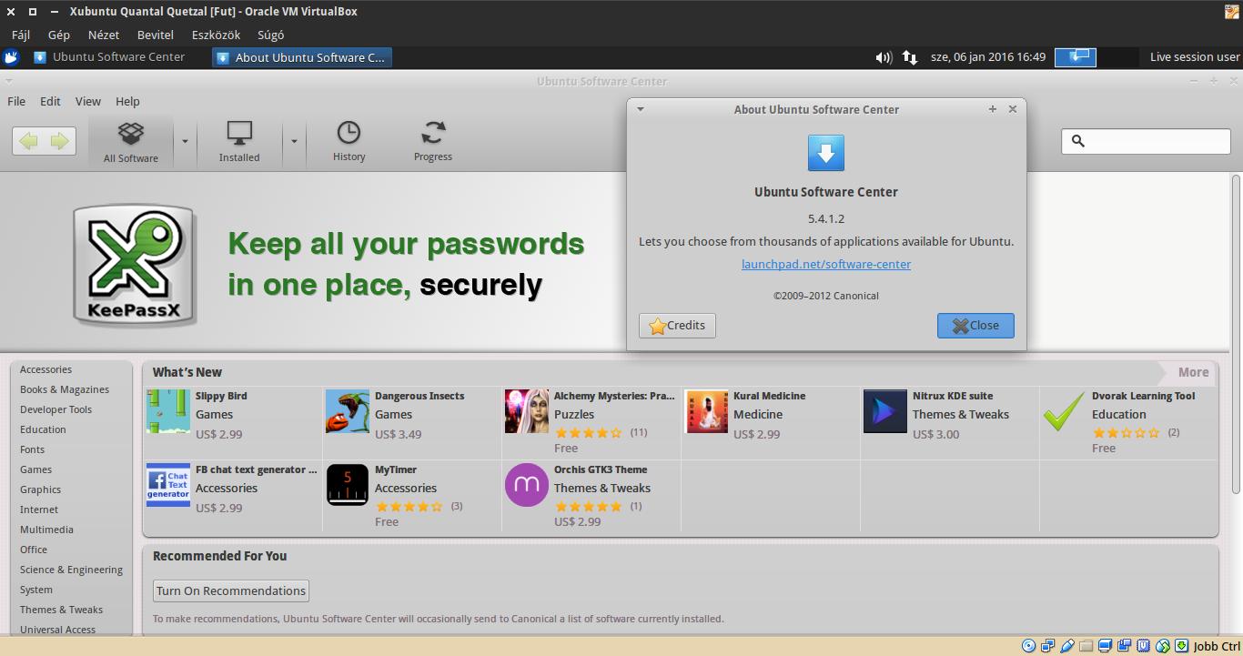 Xubuntu 12.10 Szoftverközpont