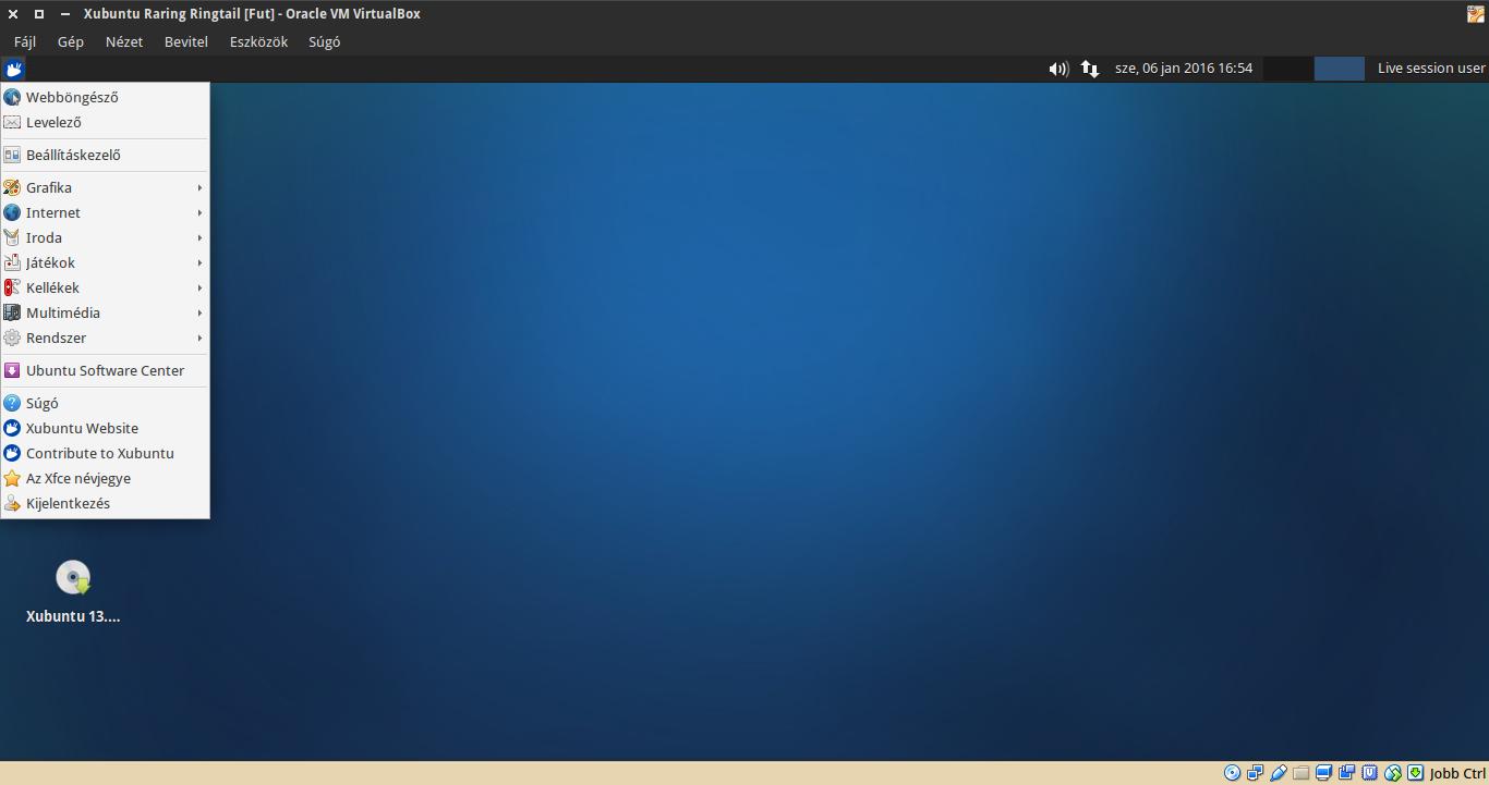 Xubuntu 13.04 alkalmazások menü
