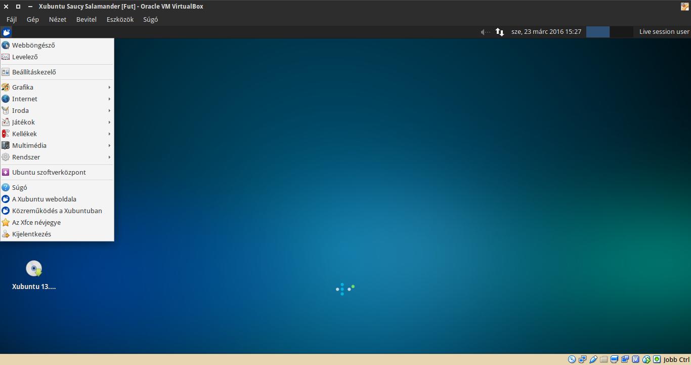 Xubuntu 13.10 alkalmazások menü