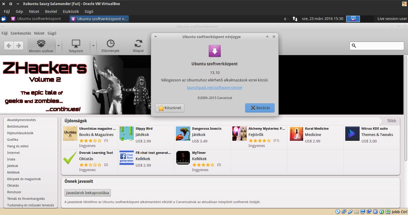 Xubuntu 13.10 Szoftverközpont