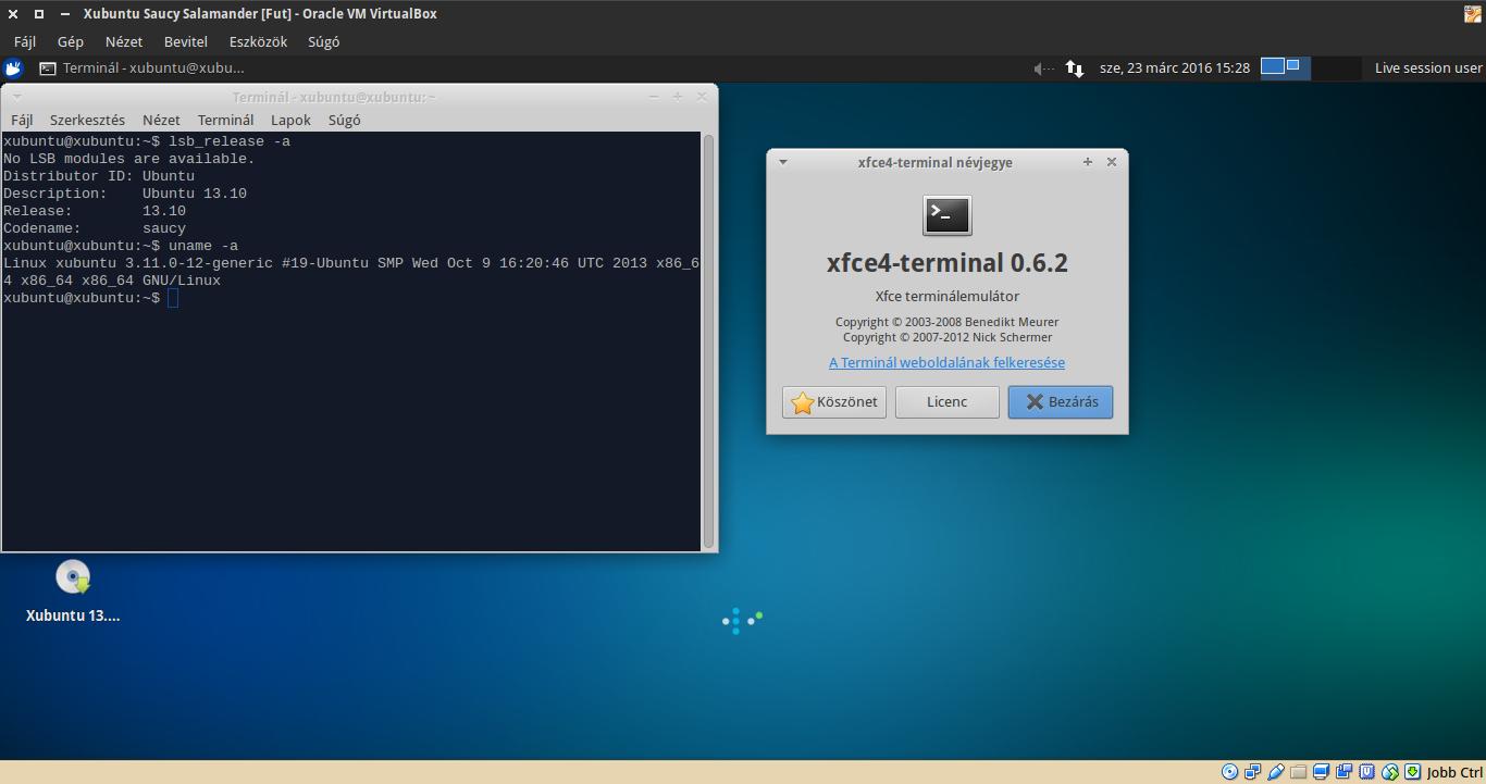 Xubuntu 13.10 terminál, kernel