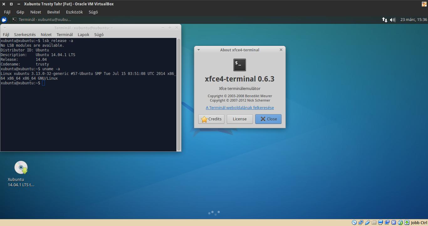 Xubuntu 14.04 terminál, kernel verzió