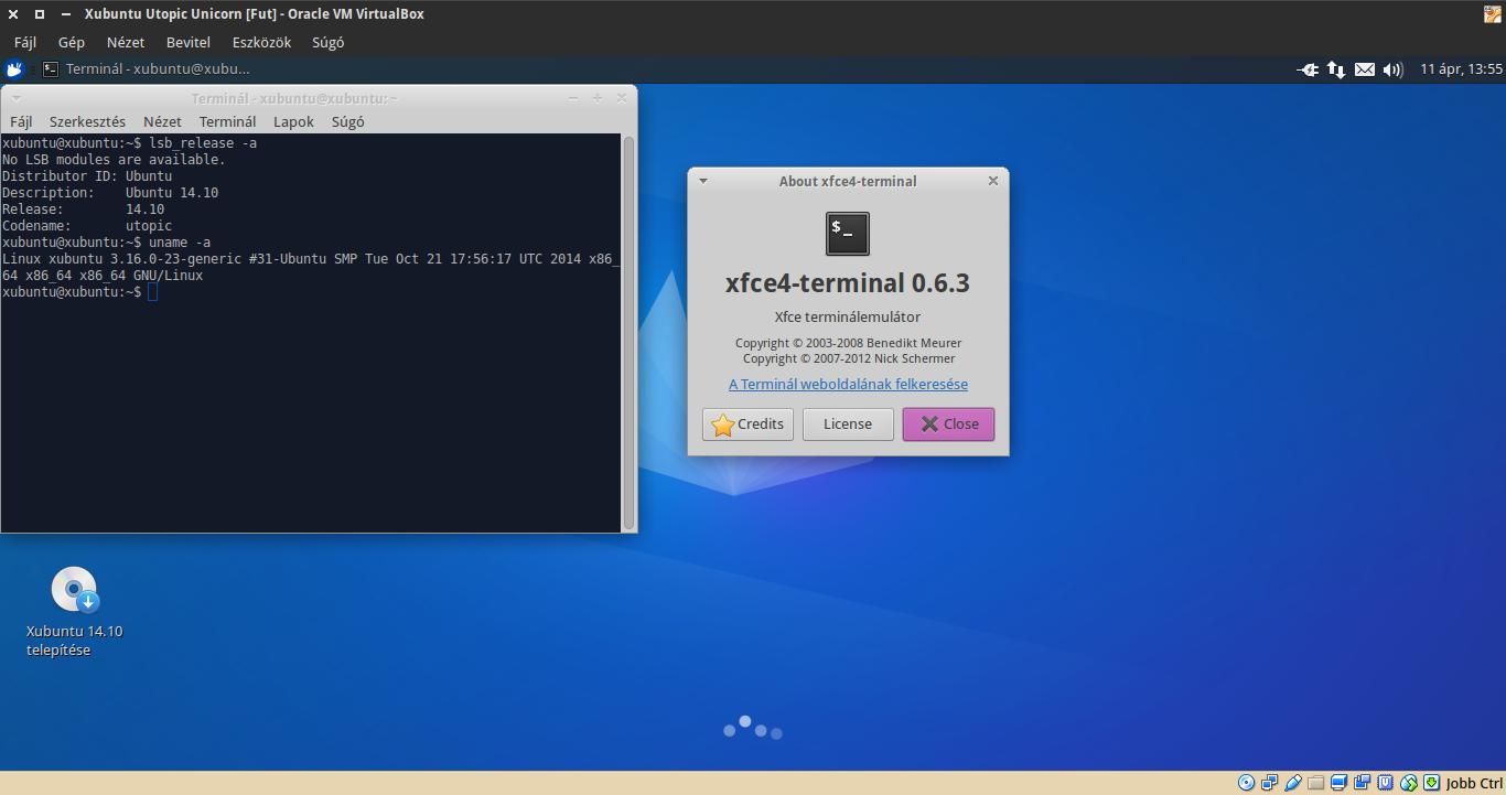 Xubuntu 14.10 terminál, kernel