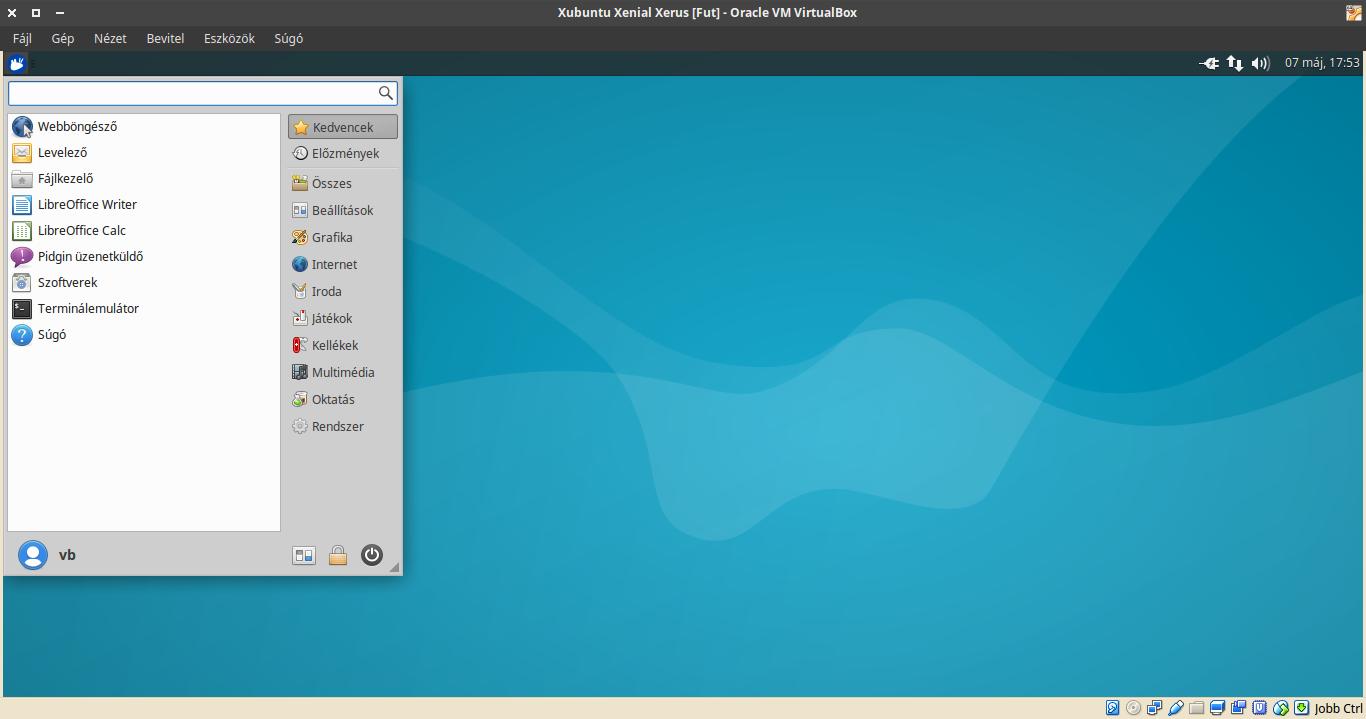 Xubuntu 16.04 menü