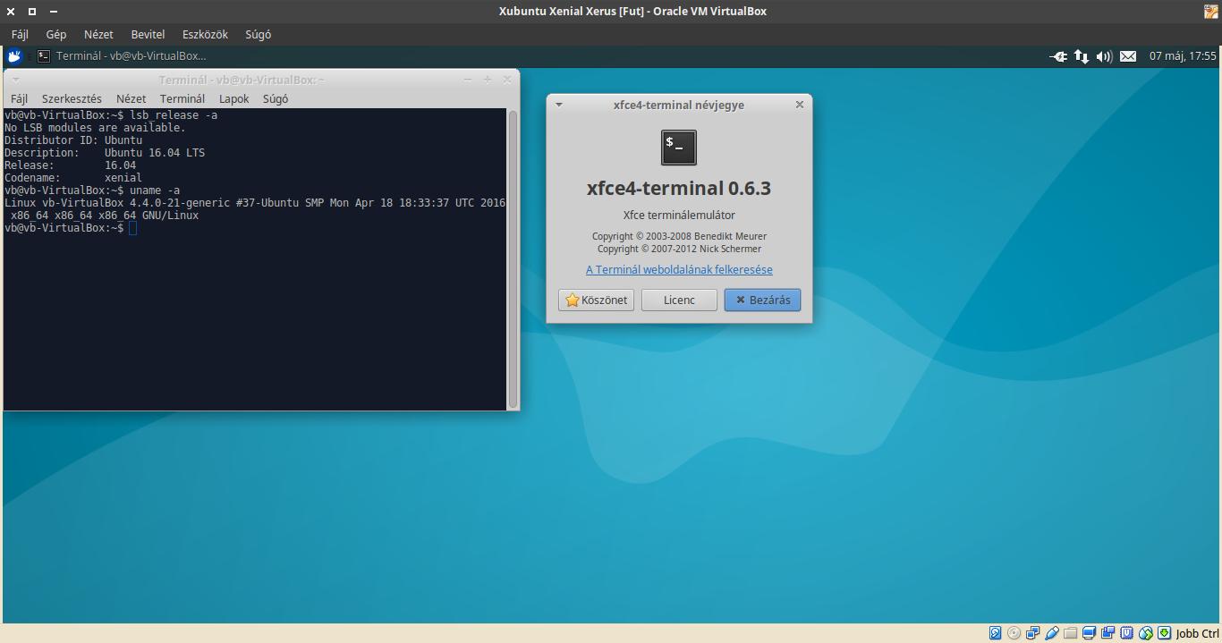 Xubuntu 16.04 terminál, kernel verzió