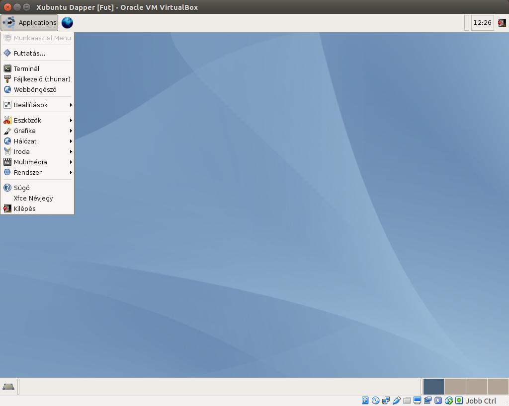 Xubuntu 6.06 alkalmazások menü