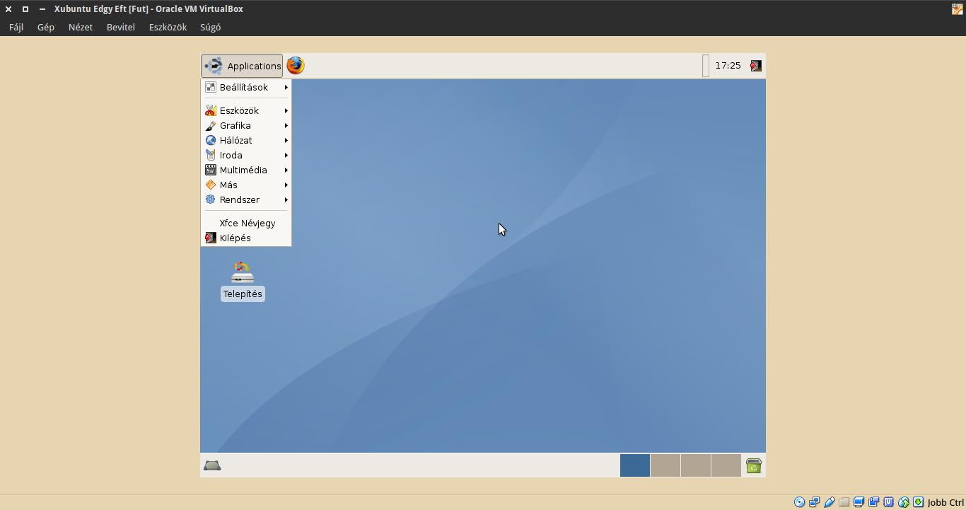 Xubuntu 6.10 alkalmazások menü