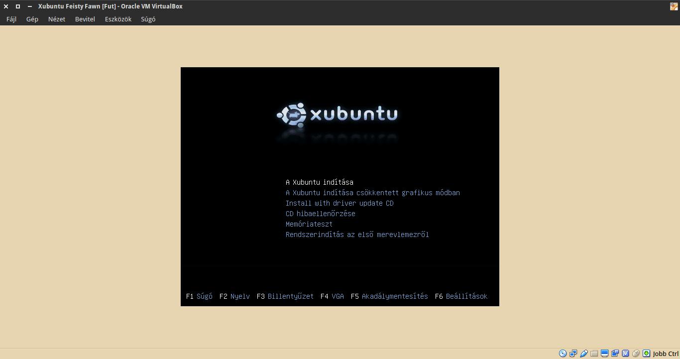 Xubuntu 7.04 boot menü