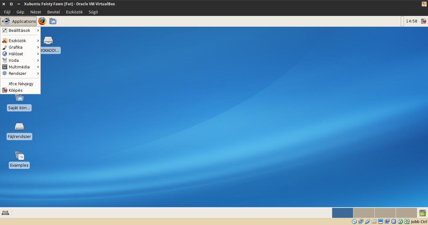 Xubuntu 7.04 alkalmazások menü