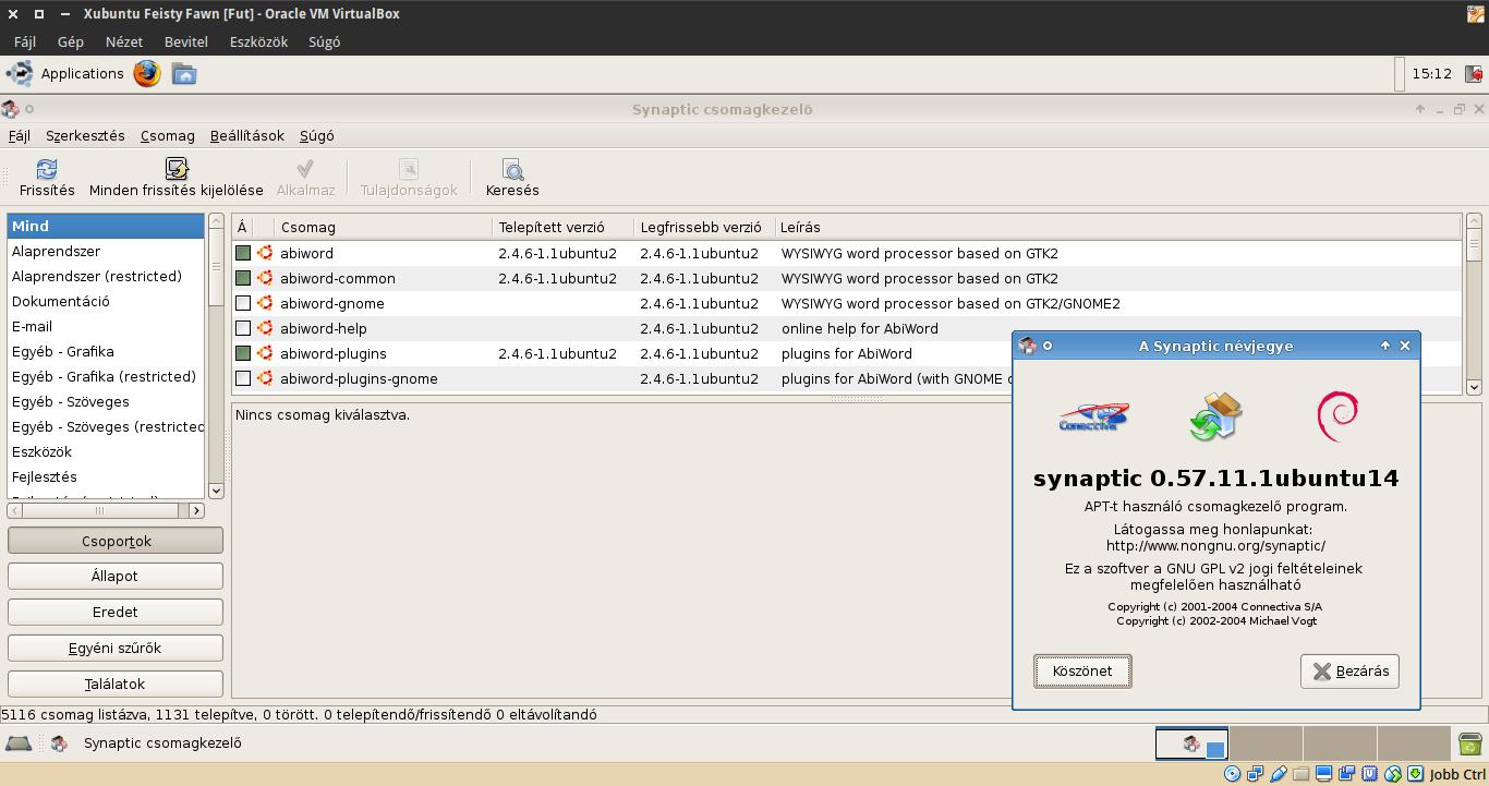 Xubuntu 7.04 Synaptic