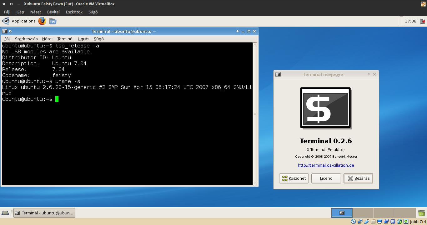 Xubuntu 7.04 terminál, kernel