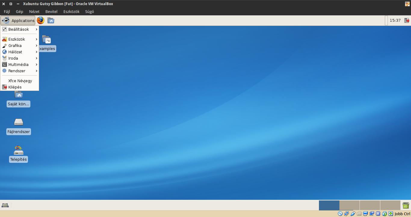 Xubuntu 7.10 alkalmazások menü