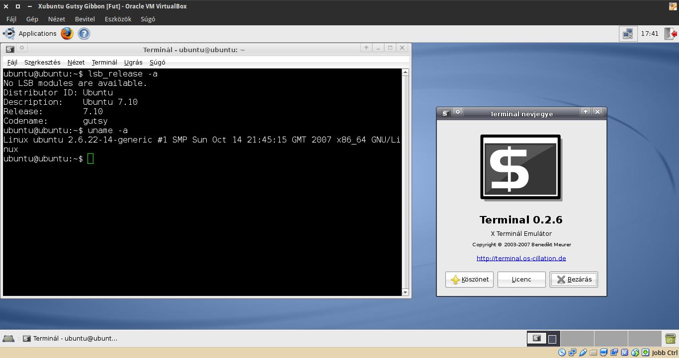 Xubuntu 7.10 terminál, kernel
