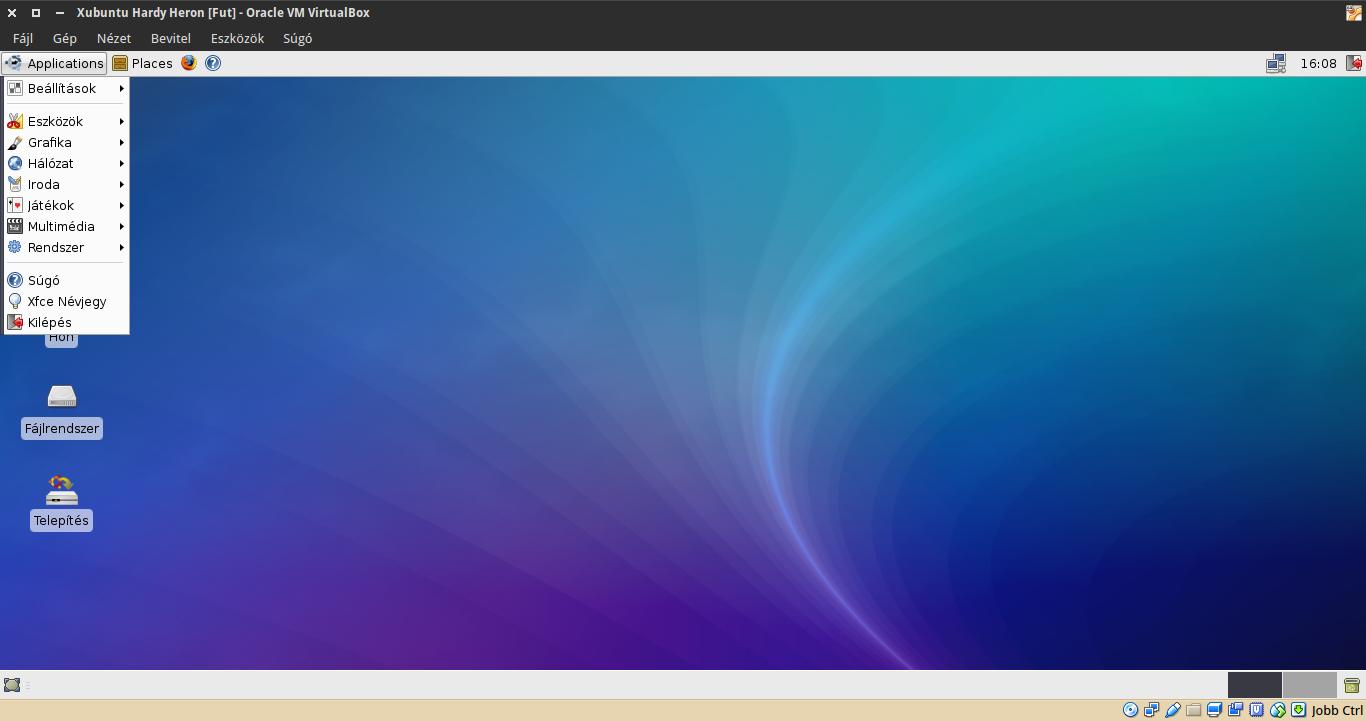 Xubuntu 8.04 alkalmazások menü