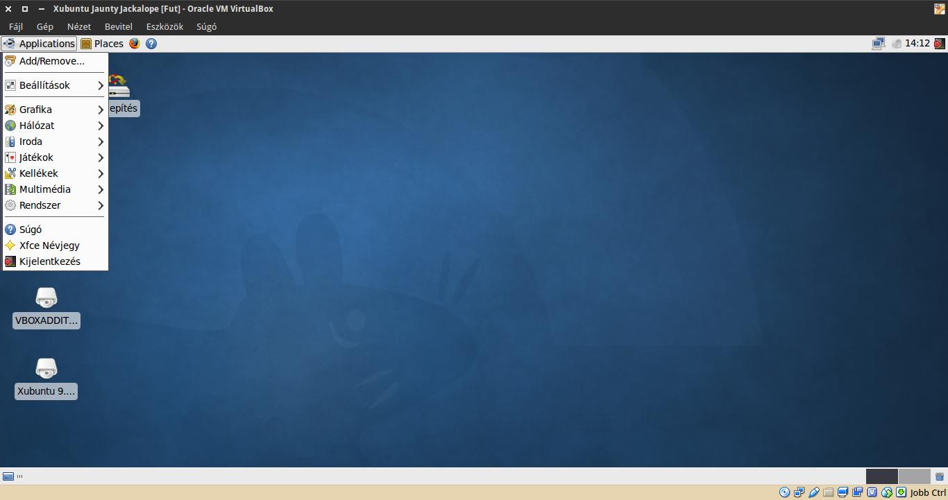 Xubuntu 9.04 alkalmazások menü