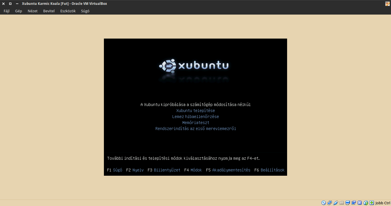 Xubuntu 9.10 boot menü