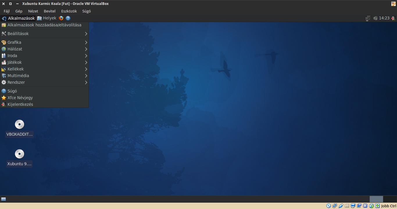 Xubuntu 9.10 alkalmazások menü