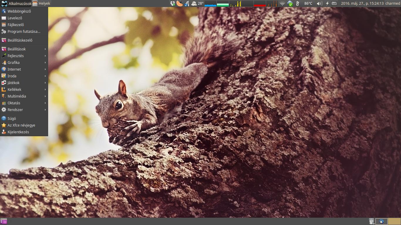 Xubuntu 16.04 egyéni alkalmazások menü