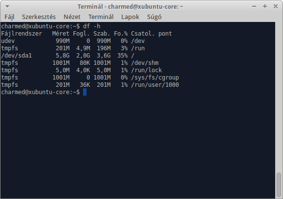Xubuntu Core - Méret