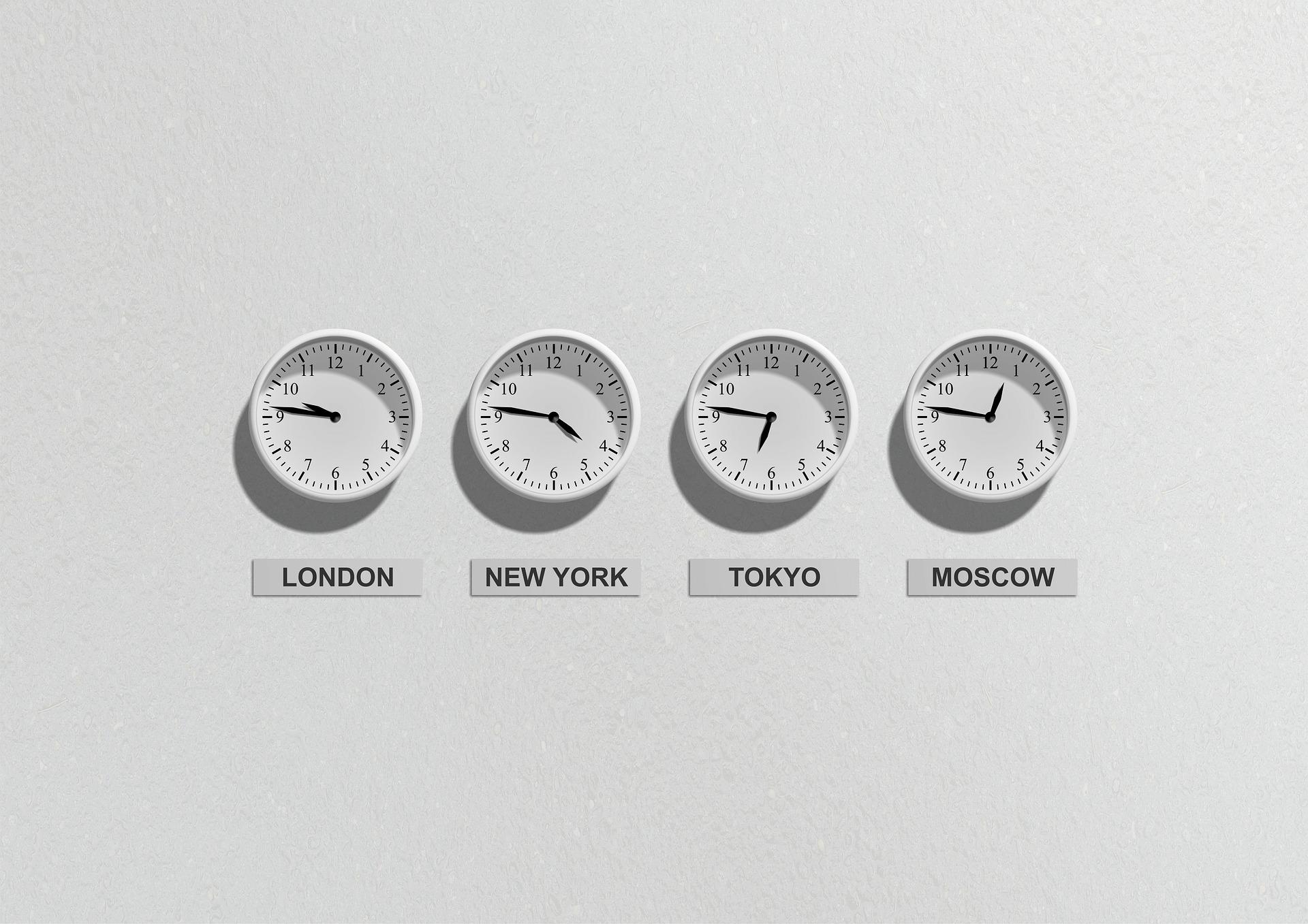 Négy óra mely négy világváros helyi idejét mutatja.