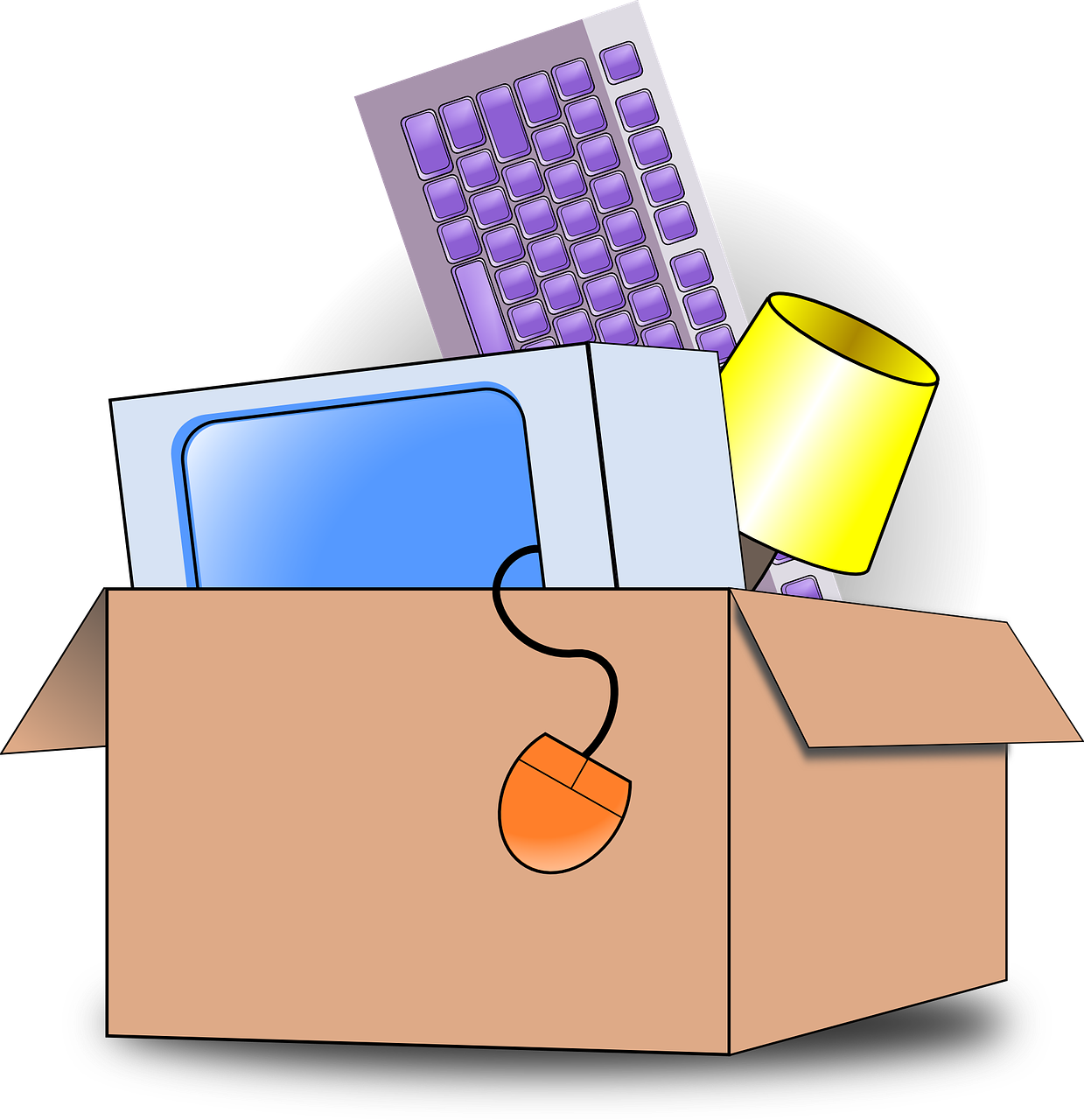 Költözés illusztráció: holmik dobozban
