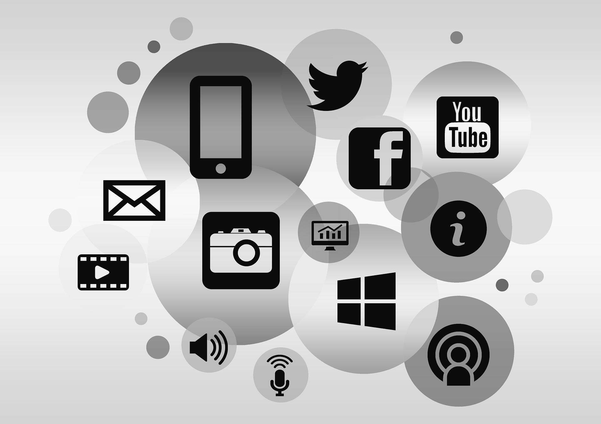 közösségi média és online élet illusztráció