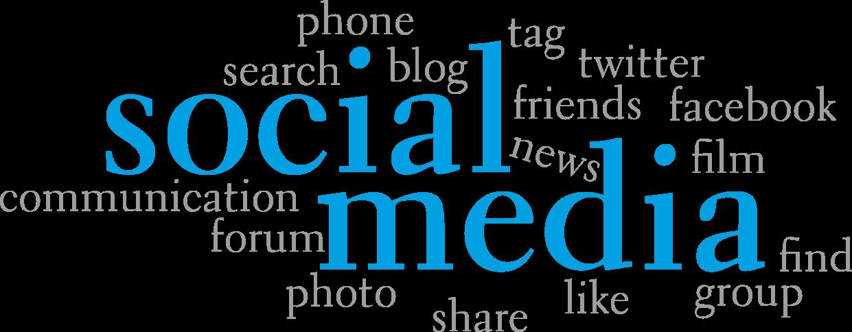közösségi média szavak illusztráció