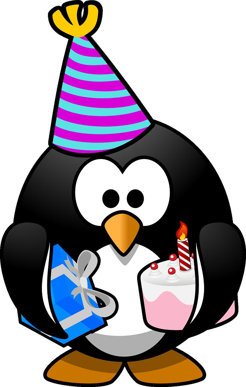 pingvines születésnap illusztráció